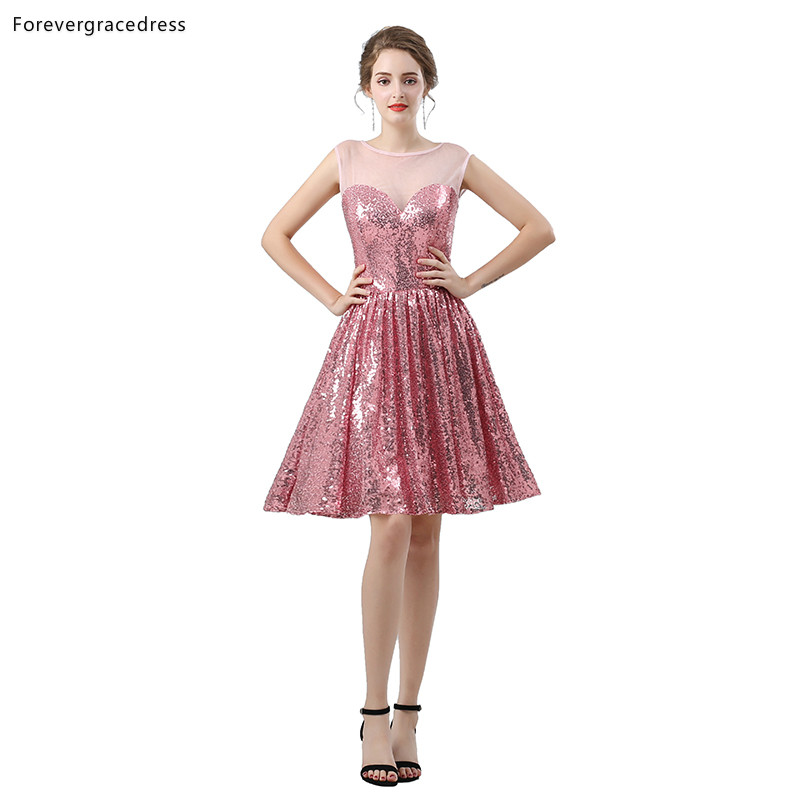 Forevergracedress Pink Sequined Short   Cocktail     Dresses   A Line Sleeveless Girls Party Gowns Plus Size Custom Made