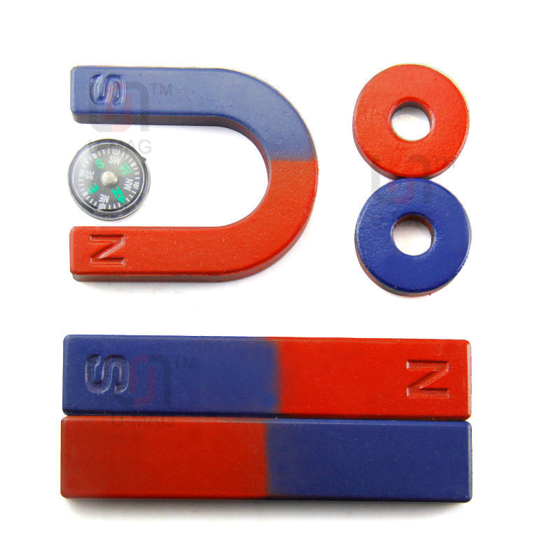 Free Shipping 6pcs/Set Magnet Kit for Education Science Experiment Tools Icluding Bar/Ring/Horseshoe/Compass Magnets