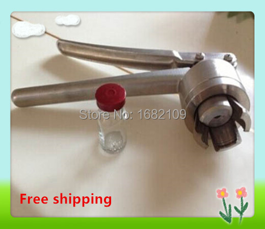 Free shipping 1 x 20mm Stainless Steel Manual Vial Crimper Flip Off Caps Hand Sealing Machine Tool, 13mm is available also