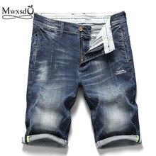 Mwxsd Brand Mens Casual Cotton Denim Shorts Men high quality Jean shorts male slim fit Knee Length elastic Shot size 38 40