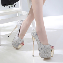 BYQDY Wholesale Girls Spring Sexy High Heels Women Platform Shoes Peep Toe Pumps Autumn Wedding Shoes Women Crystal Pumps Party byqdy wholesale girls spring sexy high heels women platform shoes peep toe pumps autumn wedding shoes women crystal pumps party