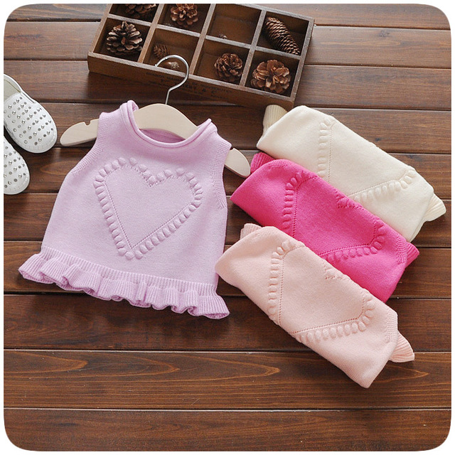 0-3 years new 2016 fall winter Princess toddler girls sweaters Candy heart pattern 100% cotton sweater vest for little baby girl