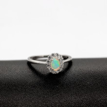 Certified Natural Fire Opal Ring, 925 Sterling Silver
