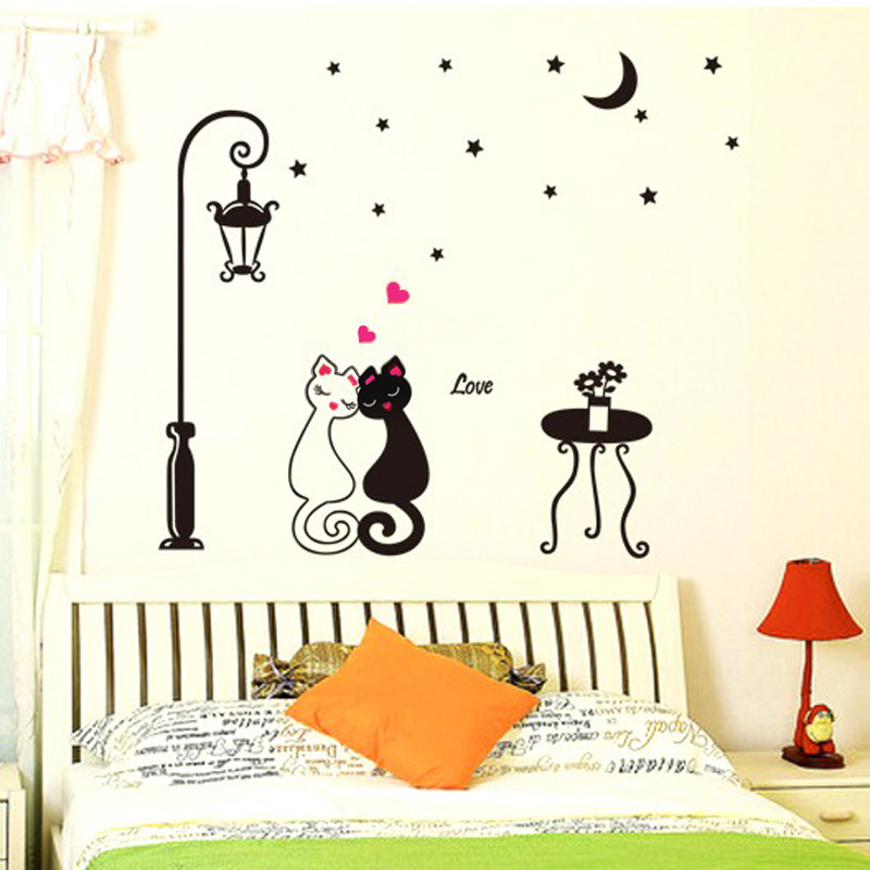 Diy Cute Couples Cats Cartoon Wall Sticker Bedroom Decor Bookcase