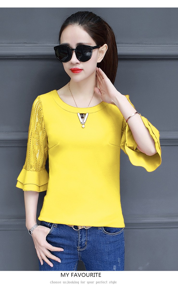 Women Blouse Summer Tops 2018 New Arrival Patchwork Blusas Mujer Lace Flare Sleeve Female Shirts Khaki Green Yellow  (8)