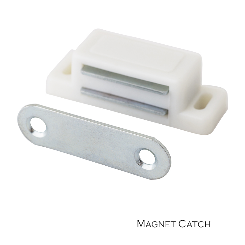 Cupboard Cabinet Etc Furniture Door Latch/Catch Closures White Plastic Highly Magnet Catch With Metal Plate And Free Screws