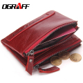 OGRAFF Genuine Leather Men Wallet Women Luxury Brand Purse Female Card Holder Small Clutch bags coin Purse Money Bag Red