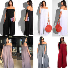 6a8a954a53 2018 Women Ladies Clubwear Party Summer Playsuit Loose Jumpsuit Romper  Trousers Casual Shoulderless Solid Off-