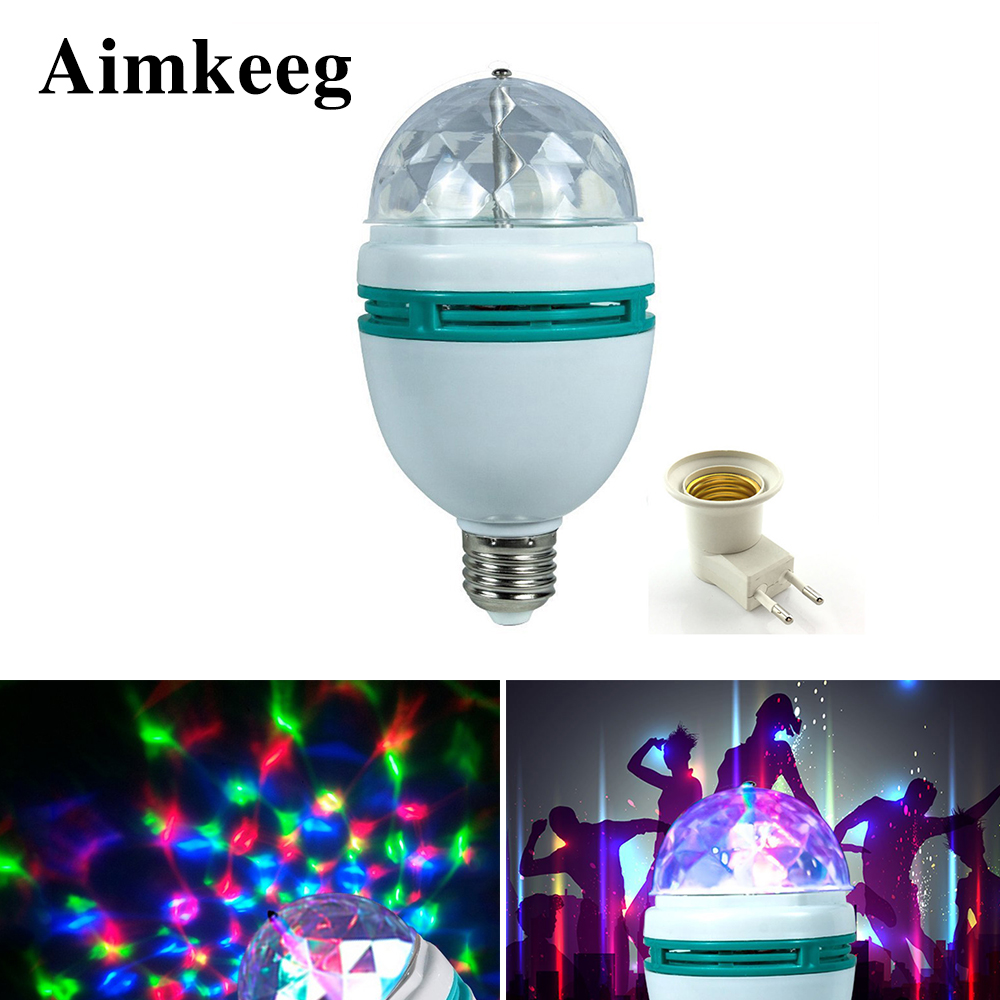Aimkeeg E27 3W Colorful Auto Rotating RGB LED Bulb  Stage Light Effect Party Lamp KTV Disco Light For Home Decoration Lighting