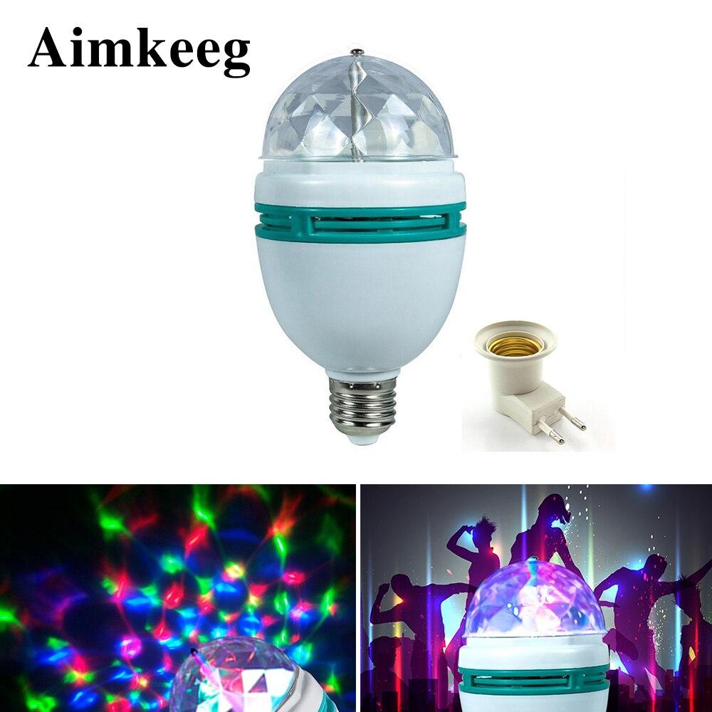 Aimkeeg E27 3W Colorful Auto Rotating RGB LED Bulb Stage Light Effect Party Lamp KTV Disco Light for