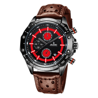 SENORS Brown Leather Red Dial Chronograph Quartz Mens Watches Stainless Steel Back Water Resistant Man Male