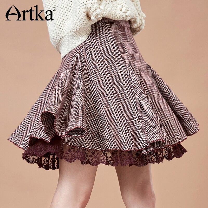 ARTKA 2018 Autumn Women New A line Skirt Thin Retro Plaid Lace High Waist Mini Skirt