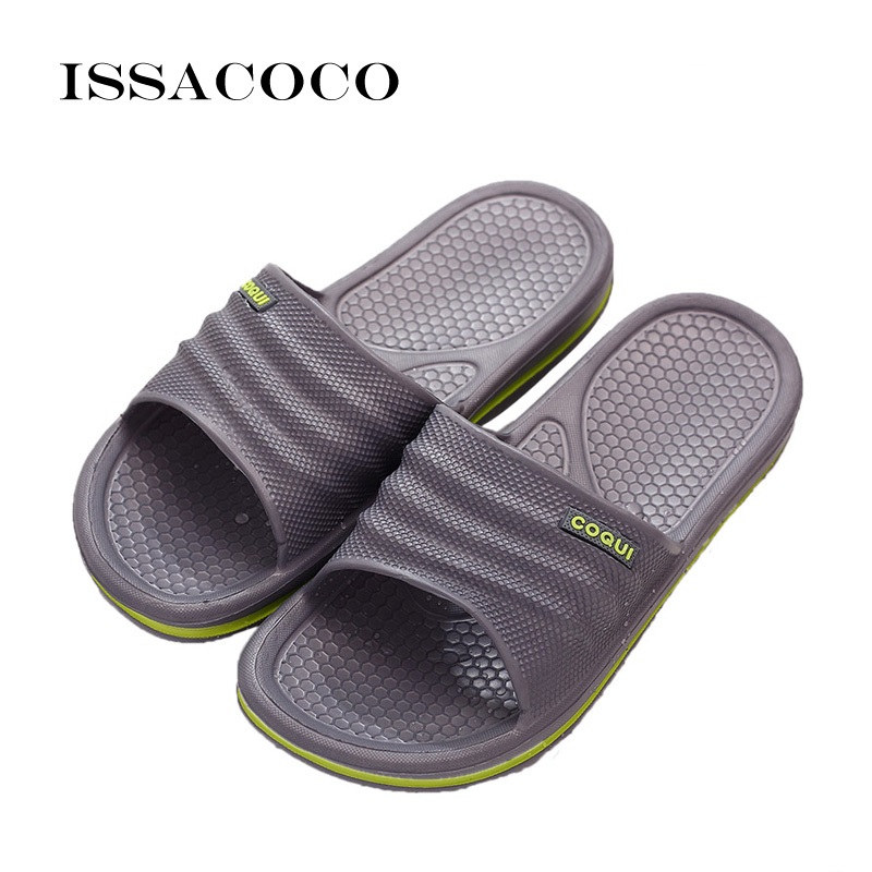 ISSACOCO 2018 Slippers Shoes Sandal Men Summer Shoes Flip Flops Non-slip Solid Color Home Slippers Pantuflas Chinelo Terlik