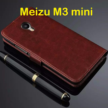 Meizu m3S mini Case 5.0 inch Flip Wallet Genuine Leather Cover For Meizu M3S With Stand Function Three Card Holder