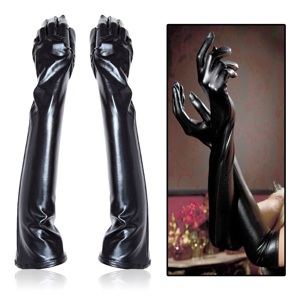 PU Leather Long Finger Gloves Nightclub Party BDSM Bondage Restraints Mittens Fetish Cosplay Queen Lingerie Latex Mitts Sex Toys