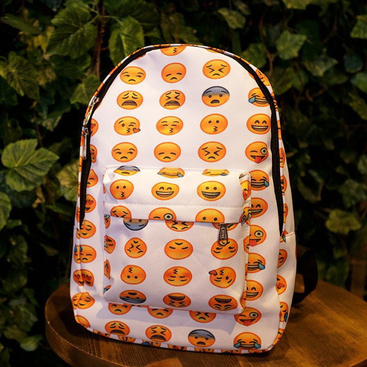 f008db5caf 2015 New Emoji Backpack Canvas QQ Emoji Printing backpacks Cute Men s  backpacks Original Design Women Backpack-in Backpacks from Luggage   Bags  on ...