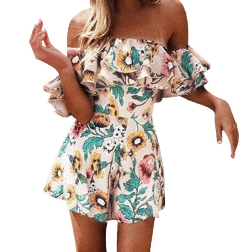 Womail woman bodysuit Fashion Women Floral printed Off Shoulder Ruffles   Jumpsuit   Bodysuit Playsuits 2018 C30828