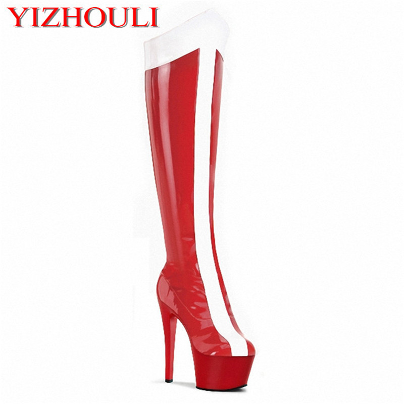 15-17cm ultra high heels with knee boots, nightclubs over-the-knee boots, black matte drum sexy stretch Dance Shoes