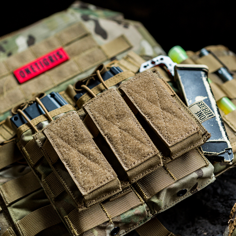 OneTigris Tactical Triple Pistol Magazine Pouch 9mm 40 S&W 45 ACP Mag Pouch For GLOCK, M1911, 92F, 40mm grenades, etc. image