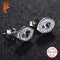 BELAWANG Authentic Jewelry 925 Sterling Silver Austrian Crystal Evil Eye Stud Earrings With Micro Pave CZ Earrings for Women