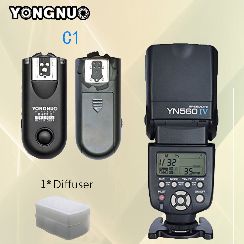 For Canon 1100D 1000D 700D 550D Camera Flash YONGNUO YN560IV YN560-IV YN560 IV Speedlite + RF-603 II RF603 II C1 Flash Trigger canon 1100d в одессе