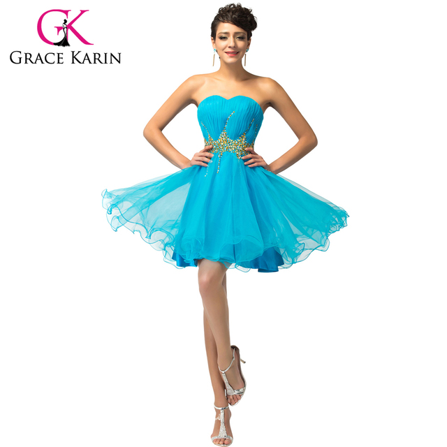 Grace Karin Cocktail Dresses Elegant Blue Pink Short Robe De Cocktail Sexy Sequin Homecoming Party Gowns Special Occasion Dress
