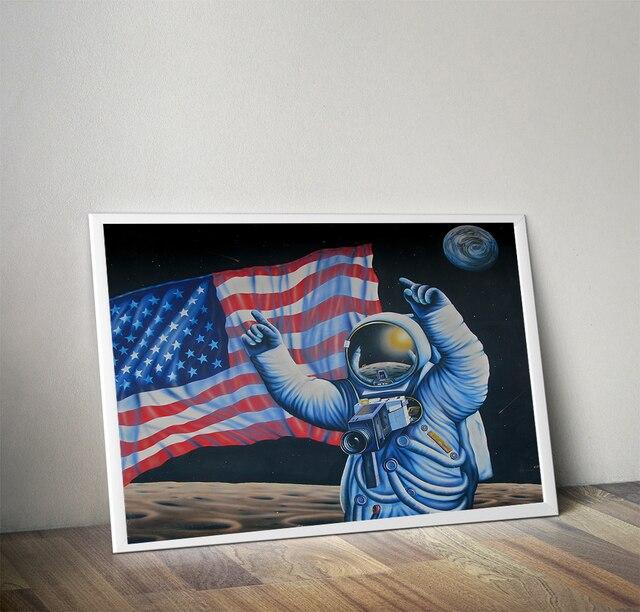 Impresión Sobre Lienzo sin marco HD Bandera Americana Moderna Apollo ...