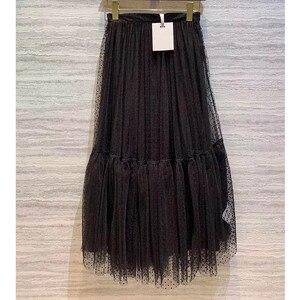 Image 3 - Cosmicchic 2019 활주로 디자이너 여성 블랙 롱 Tulle Skirt 하이 웨스트 플리츠 폴카 도트 Maxi Skirt Lolita Saia Jupe Faldas