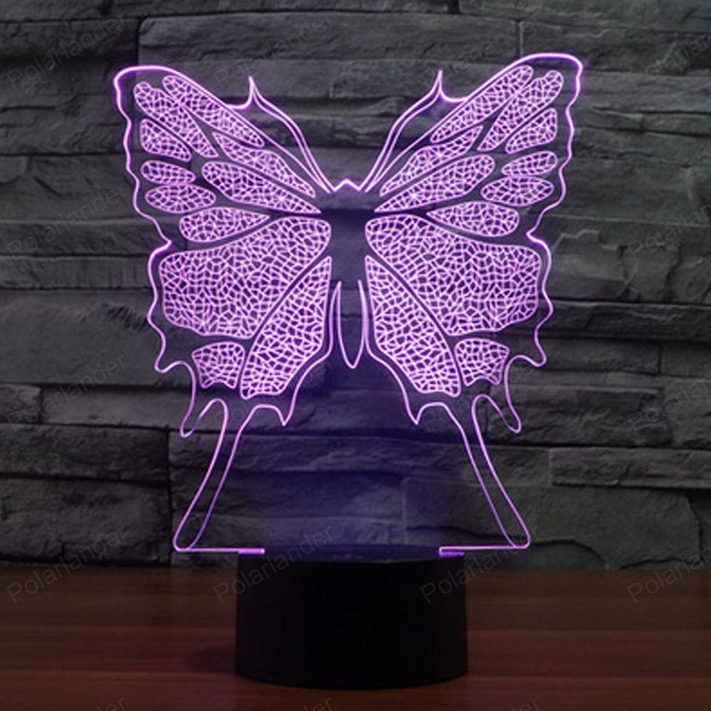 Latest Night Lights 3d Led Lighting Fashion Desk Light Colorful Desk Lamps  Bedside Table Lamp Butterfly