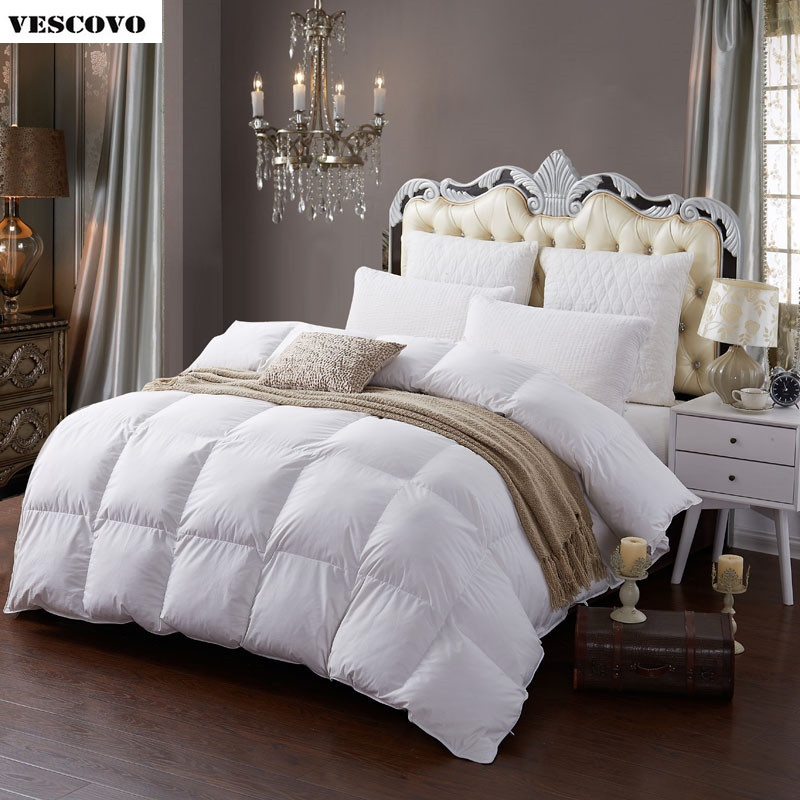Winter Comforter White Goose Down Quilted Bedding Filler