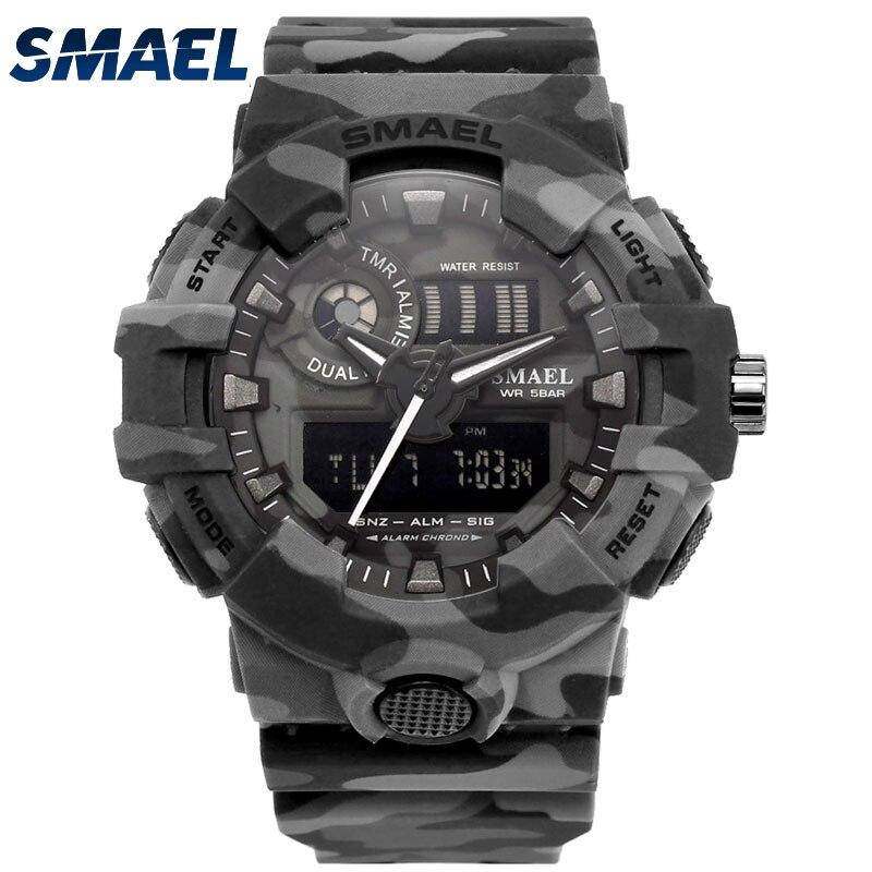SMAEL Camouflage Militaire Montre Sport Montres LED Horloge Montre-Bracelet Automatique Date Alarme Mens Armée Horloge Étanche 8001