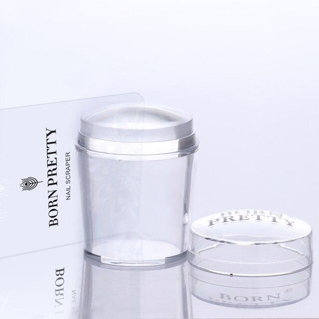 Urodzony dostępne 4 cm XL wyczyść Marshmallow silikonowe galaretki Stamper z Cap Nail Art Stamper skrobak zestaw narzędzi do stemplowania