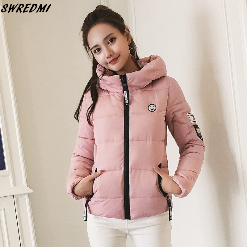 SWREDMI 2019 New Short Winter Coat Women Hooded Students Cotton Padded Jacket Coat Thick Warm Winter   Parkas   Plus Size S-3XL