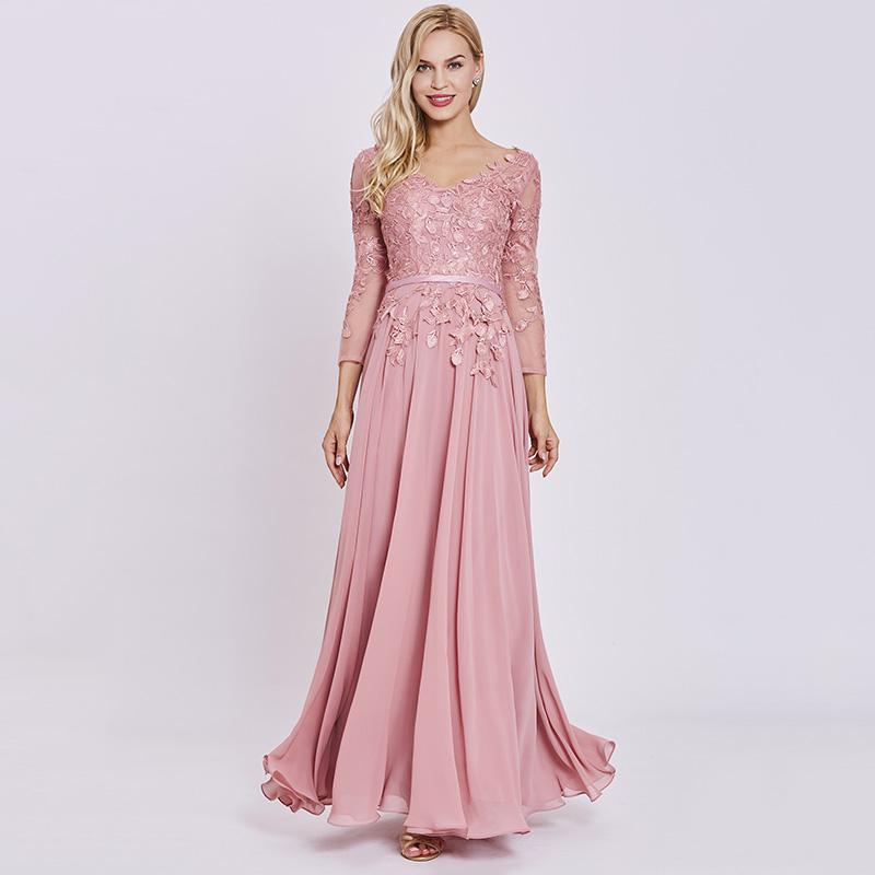 229f1c07de6 Tanpell appliques long evening dress elegant peach full sleeves floor length  a line gown women chiffon formal evening dresses. 1 4 2 3 ...