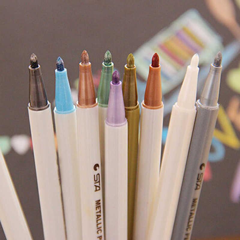 10 pcs/lot stylo à craie à encre de couleur métallique STA pour Scrapbook Album Photo dessin aquarelle Art marqueur stylos à Gel papeterie