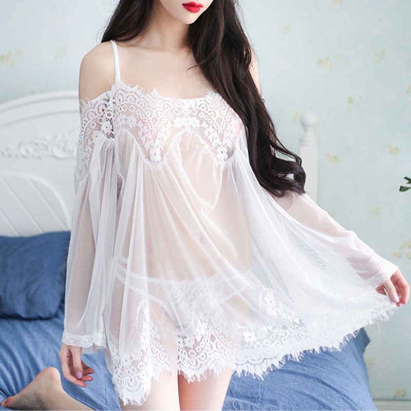 2018 Women Floral Lace Mesh Nightdress Sexy Off Shoulder Nightgown Sleepwear Set Lingerie See Through Nightwear