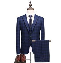 (Jacket+Vest+Pants) 2018 Men Suits Fashion Casual stripe Mens Slim Fit business wedding Suit men Wedding suit plaid jacket