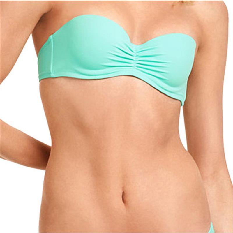 M & M әйелдер әйгілі Bandeaus Biniki Top Solid Bikini - Спорттық киім мен керек-жарақтар - фото 3