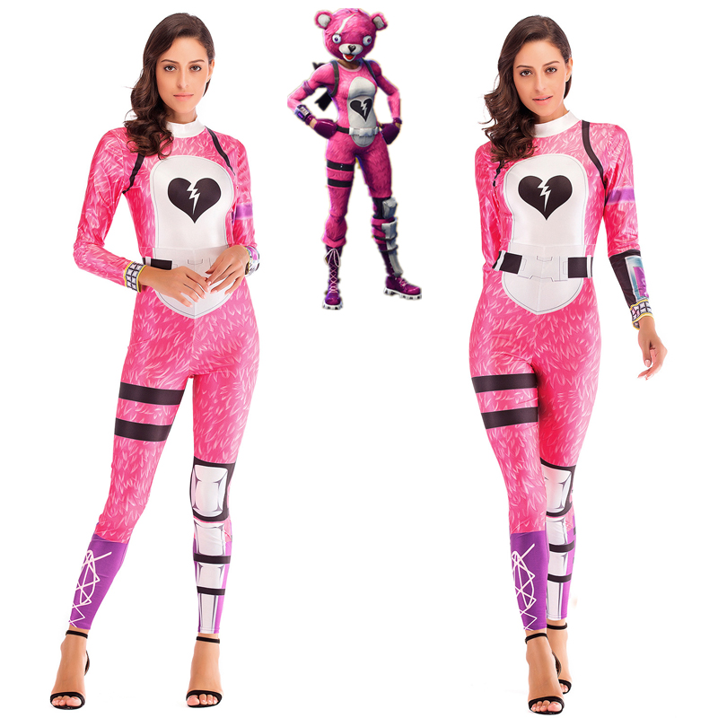 Battle Royale Cuddle Team Leader Cosplay Jumpsuit 3D Print Pink Panda Bodysuit Women Halloween Costume