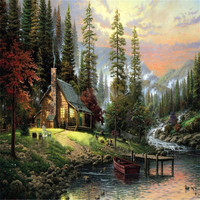 Forest Cottage Oil Painting Poster Painting By Numbers DIY Digital Coloring By Numbers Home Decoration Wall