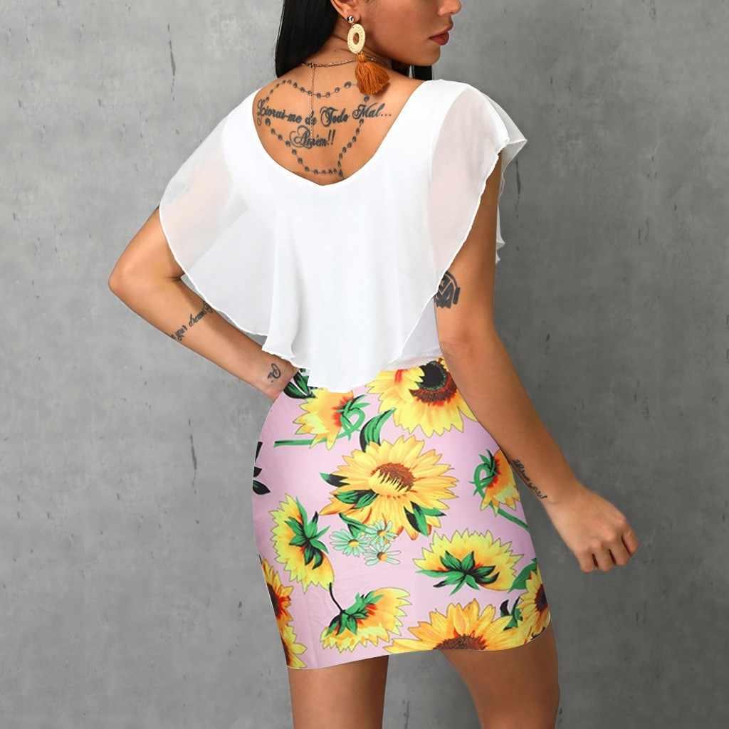 Сексуальное женское летнее прилегающее платье без рукавов с принтом подсолнуха, короткое праздничное мини-платье, летнее платье со складками 2019, Vestido