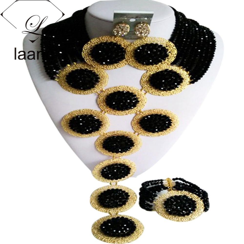 Splendid Black Crystal Costume African Beads Jewelry Set Nigerian Traditional Wedding Bridal Jewelry Sets ABF404