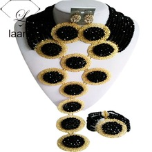 Splendid Black Crystal Costume African Beads Jewelry Set Nigerian Traditional Wedding Bridal Jewelry Sets ABF404 beaqueen luxurious african cubic zirconia beads jewelry set nigerian wedding yellow bridal jewellery sets for women js091