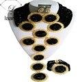 Splendid Negro Crystal Traje Tradicional De La Boda Nigeriano Beads Africanos Joyería Conjunto Sistemas de La Joyería Nupcial ABF404