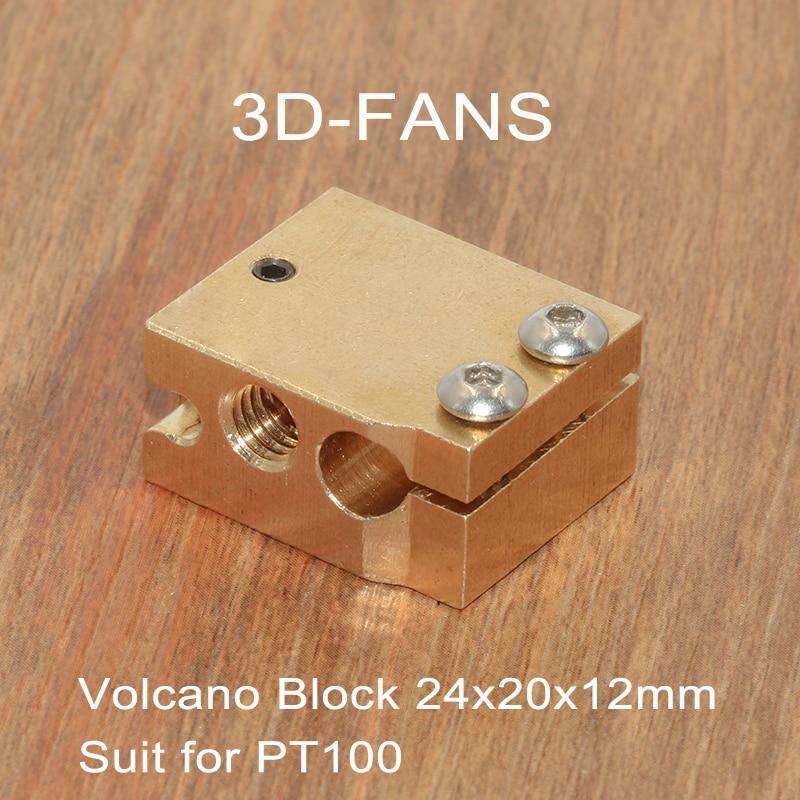1Pc 3D Printer Parts Volcano Heater Brass Block For E3D Volcano Hotend Thermistor Sensor PT100 24x20x12mm