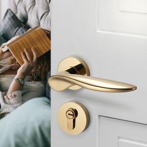 Image 1 - Goud Deurgrepen voor Interieur Deurslot Set Mechanische Lock voor Slaapkamer 8037Y