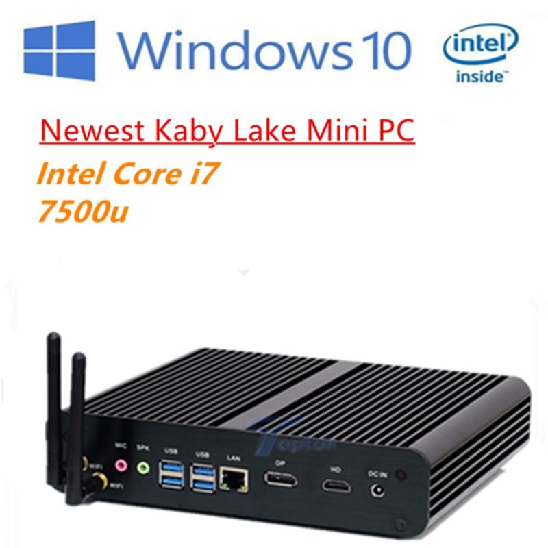 Newest 7th Gen Core I7 7500u Fanless Mini Pc Intel Hd