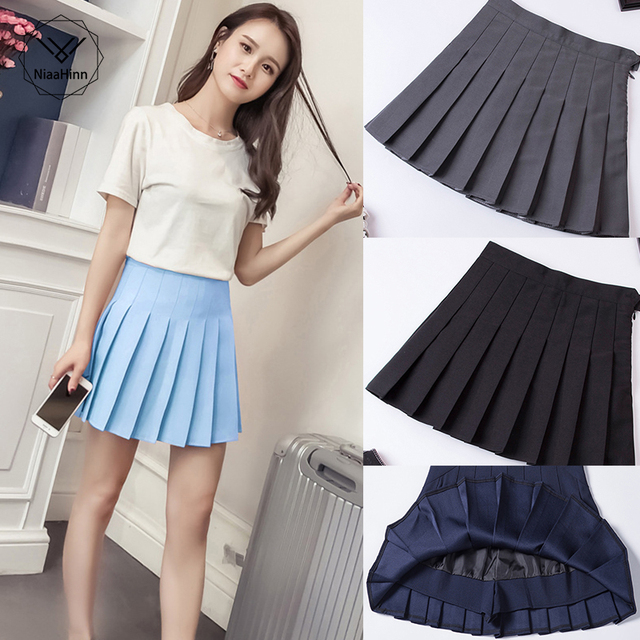 Large size pleated skirt Harajuku Preppy Style Solid Skirts Mini Cute Japanese School Uniforms Ladies Kawaii Skirt Gray Blue