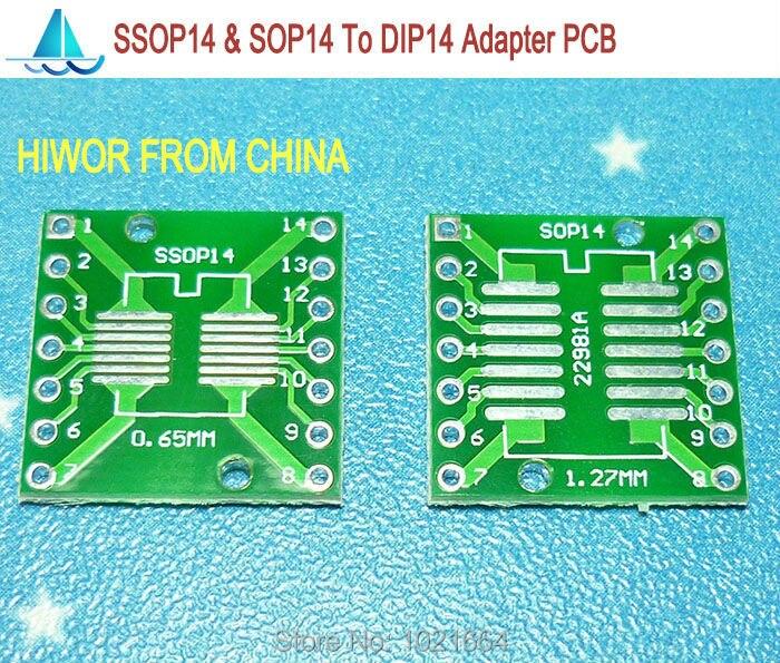 20pcs/lot SSOP14 SOP14 TSSOP14 MSOP14 To DIP14 SMD Adapter To DIP PCB Pinboard SMD Converter