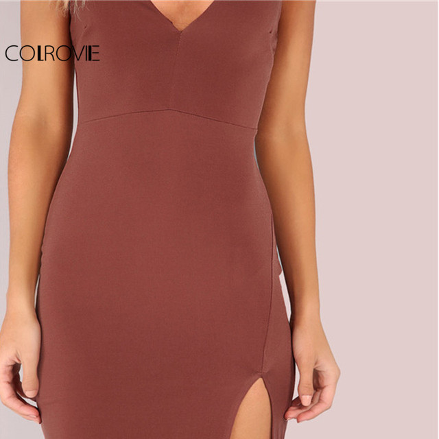 Sexy Bodycon Party Dress Women Brown V Neck Side Split Slim Summer Cami Dresses 2017 Fashion Elegant Club Midi Dress
